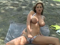 sheila grant licks her tits and masturbates